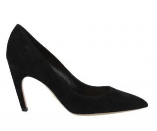 Dior black suede curved heel pumps