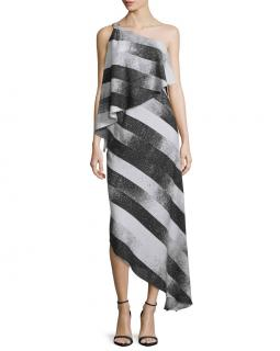 Halston Heritage Asymmetric Striped Popover Dress
