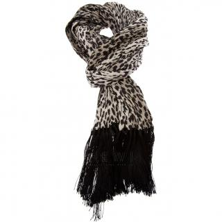 Saint Laurent Leopard-Print Fringed Scarf