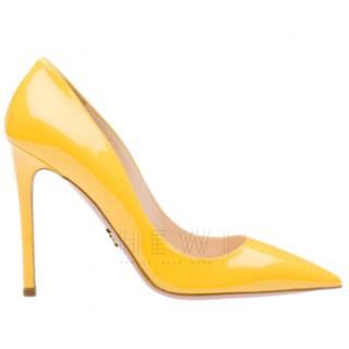 Prada Point-Toe Patent Leather Yellow Pumps