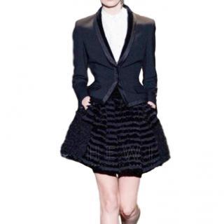 Alberta Ferretti Black Ruffle Mini Skirt