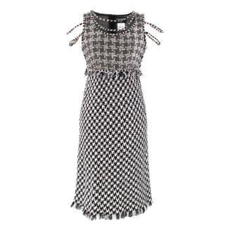 Chanel Black & White Houndstooth Tweed Dress