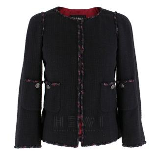 Chanel Classic Black Jacket with Red & Navy Trim