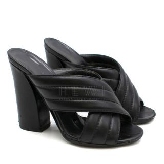 Gucci Sylvia Black Quilted-Leather Cross-Strap Mule Sandals