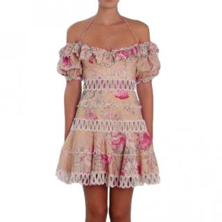 Zimmermann Melody Meadow Floral-Print Tiered-Frill Mini Dress
