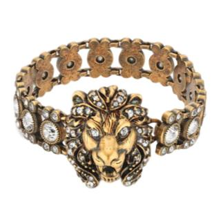 Gucci Crystal-Encrusted Lion Bracelet