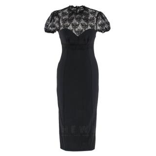 Dolce & Gabbana Cap Sleeve Lace Pencil Dress