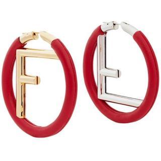 F is Fendi Red Leather Hoop Earrings