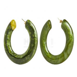 Cult Gaia Kennedy Malachite Large Flat Hoop Earring
