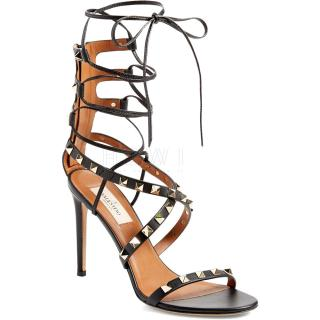 Valentino Rockstud 100mm Black Leather Sandals