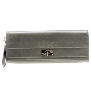 Givenchy Shark Grey Leather Wristlet Clutch