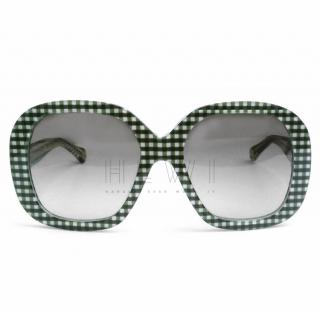 Dolce & Gabbana Oversized Gingham Acetate Sunglasses