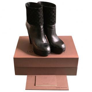 Louis Vuitton Suede Monogram Platform Ankle Boots