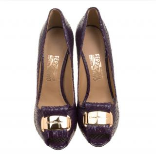 Ferragamo purple python signature pumps