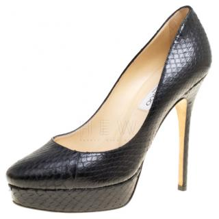 Jimmy Choo Cosmic Black Snakeskin Pumps
