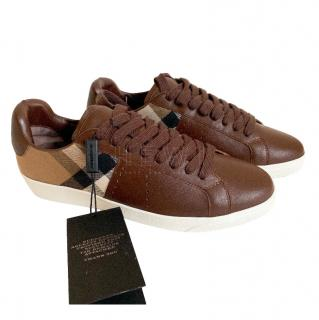 Burberry Brown Leather & House-Check Trainers