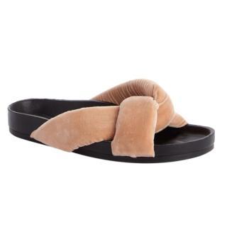 Chloe Nolan Nude Velvet Slides