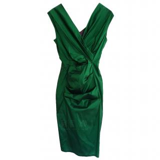Talbot Runhof Green Draped Dress