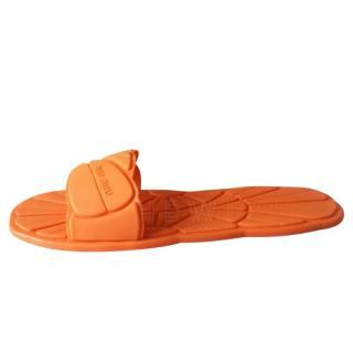 Miu Miu Orange Rubber Slides