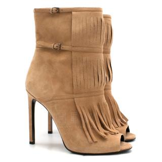 Gucci Becky Suede Peep Toe Fringed Ankle Boots
