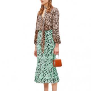 Olivia Rubin Hanna Zebra Satin Midi Skirt - Current Season