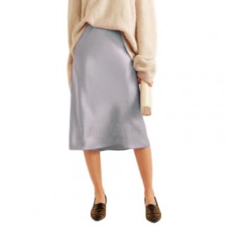 Nanushka Ice-Blue Satin Midi Skirt - Current Season
