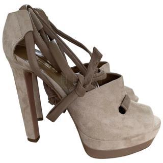 Aquazzura Taupe Suede Platform Sandals
