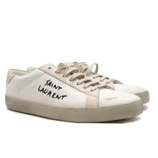 Saint Laurent Distressed Court Classic Trainers - Current Season