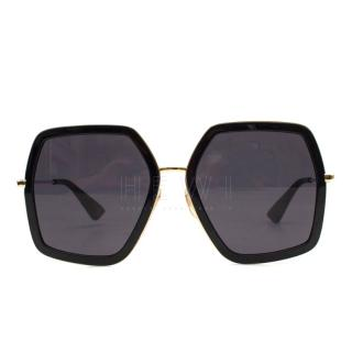 Gucci Oversized Square-Frame Metal Sunglasses - Current Season