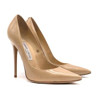 Jimmy Choo Pigalle Nude Patent Leather Pumps - Current Season