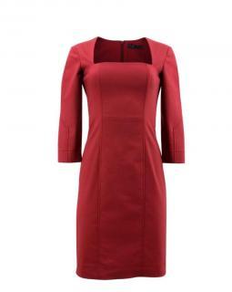 The Row Burgundy Square-Neck Dress