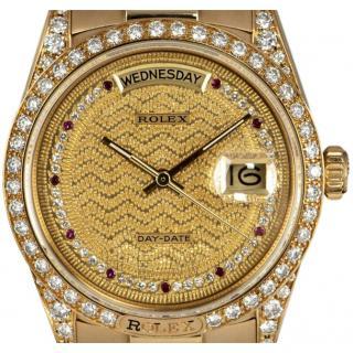 Rolex Day Date Diamond & Ruby Set 18k Yellow-Gold Watch