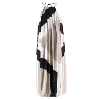 Tibi Pleated Colour-Block Silk-Chiffon Dress