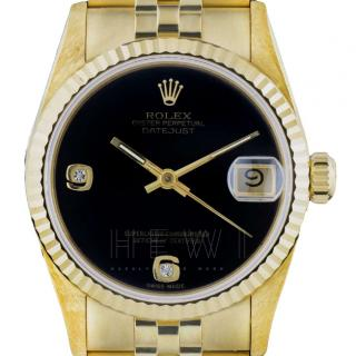 Rolex Datejust 68278 Onyx-Dial 18k Gold Watch