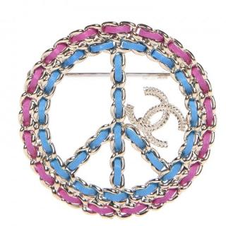 Chanel Woven-Leather Peace Sign Brooch