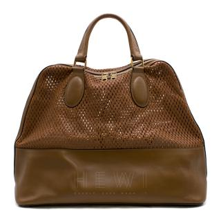 Chloe Laser Cut Leather Tan-Brown Tote Bag