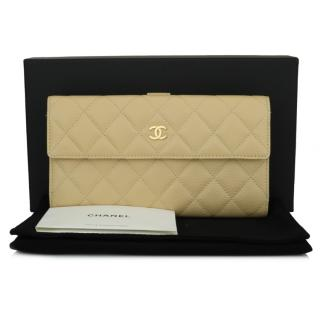 Chanel Beige Caviar Leather Quilted Flap Bifold Wallet