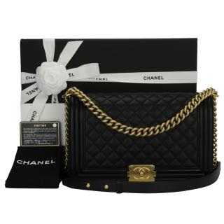 CHANEL Black Calfskin New Medium Quilted Boy Bag
