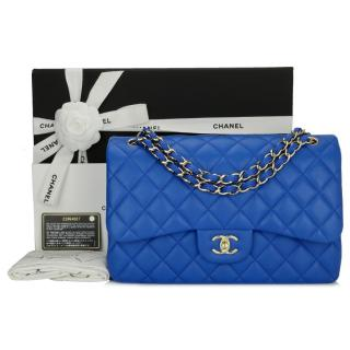 CHANEL Blue Lambskin Classic Double Flap Jumbo Bag