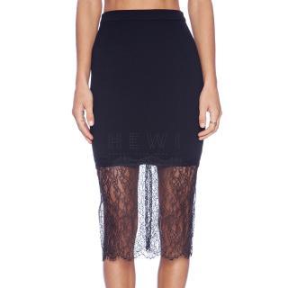 Nicholas Black Lace-Overlay Skirt