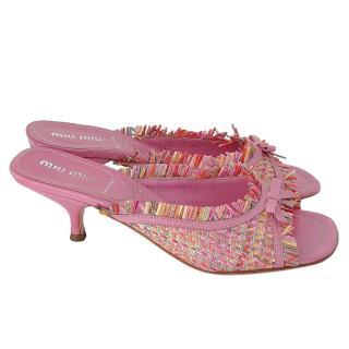Miu Miu Pink Tweed Mules
