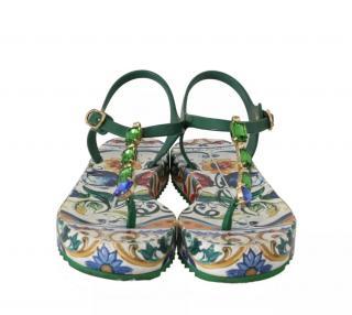 Dolce & Gabbana Maiolica print crystals sandals flats
