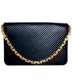 Saint Laurent black leather shoulder bag with gold chain