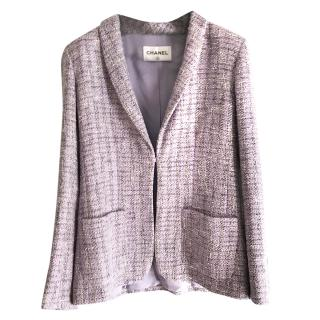 Chanel Single Breasted Lilac Tweed Jacket