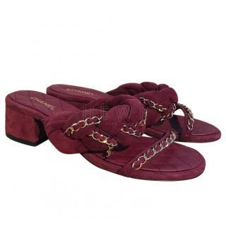 Chanel Mid-heel Burgundy Slides