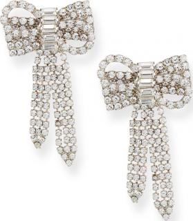 Jennifer Behr  Crystal Bow Shaped Stud Earrings