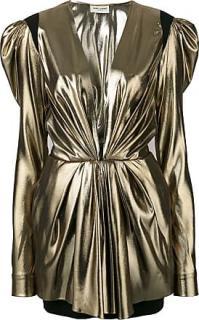 Saint Laurent Runway Plunge-Neck Bronze Mini Dress