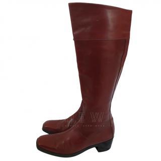 Balenciaga Maroon Leather Knee-High Boots