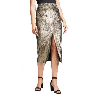 Masscob Gold Velvet Midi Skirt