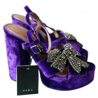 Zara Crystal-Embellished Velvet Sandals
